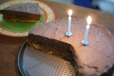 Faute de temps, je n'ai pas décoré le dessus de mon gâteau... Mais il n'en était pas moins bon !