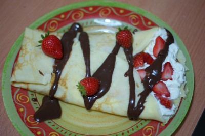 Crêpe chantilly-fraise-chocolat
