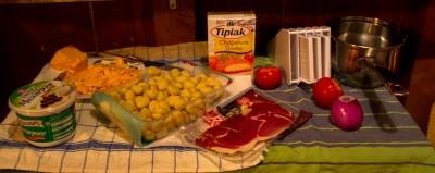 Ingrédients pour le gratin de gnocchis.